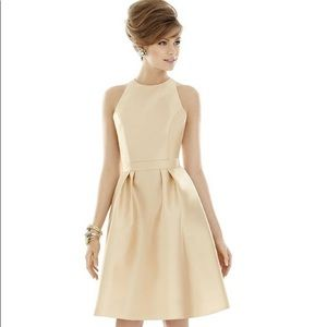 ALFRED SUNG Gold Dress gorgeous. NWT